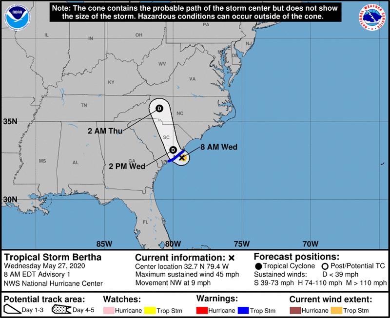 NHC Tropical Storm Bertha May 27 2020