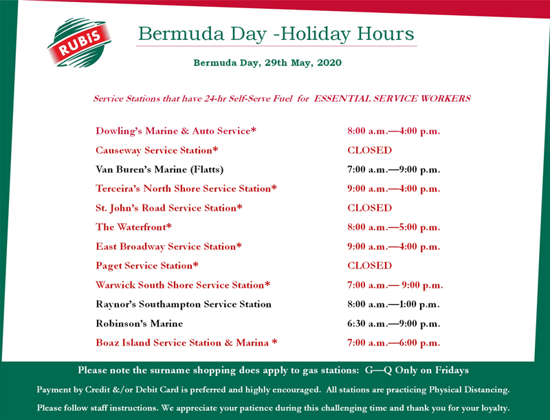 RUBiS Energy Bermuda Day May 2020