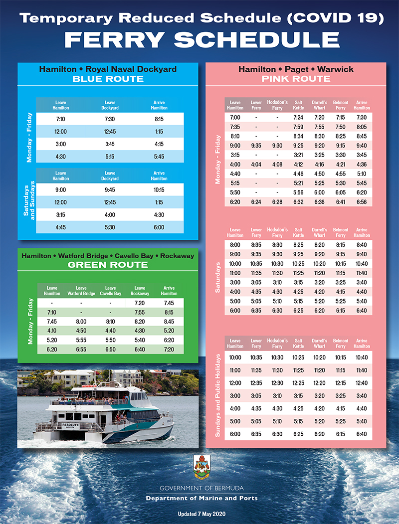 Temporary Ferry Schedule Bermuda May 2020