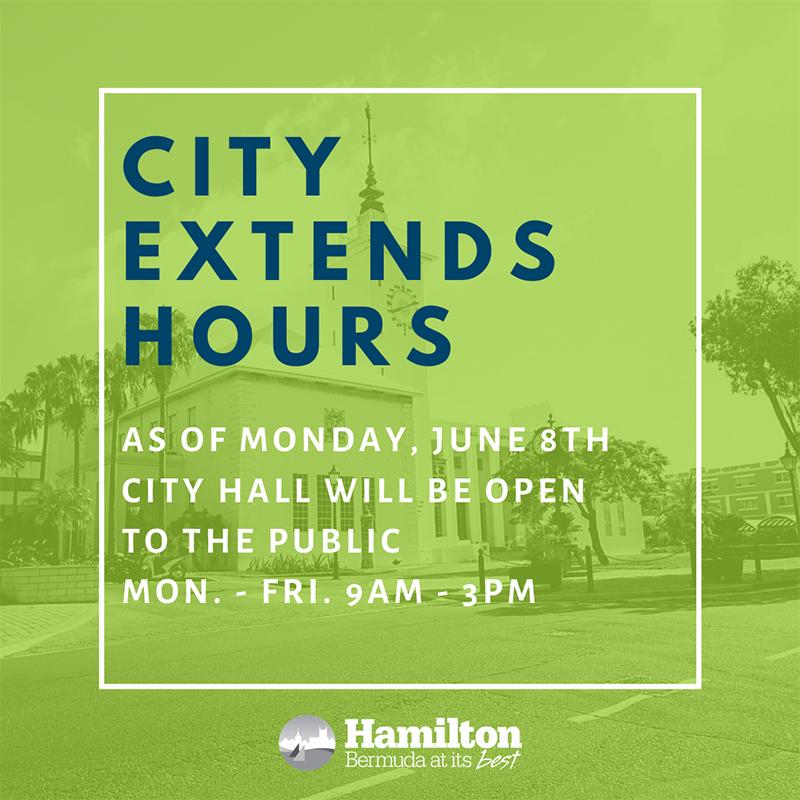 City Hall Extend Hours Bermuda June 2020