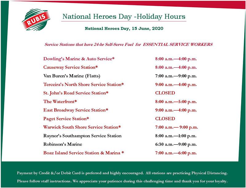 Rubis National Heroes Day Hours Bermuda June 2020