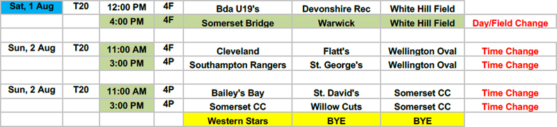 BCB schedule changes Bermuda July 2020
