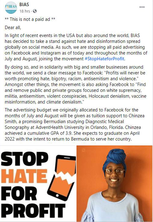 BIAS Joins Hate For Profit Movement Bermuda July 2020