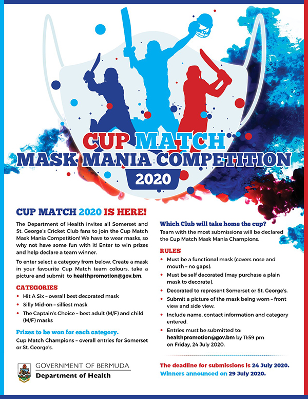 Cup Match Mask Mania Competition Bermuda July 2020
