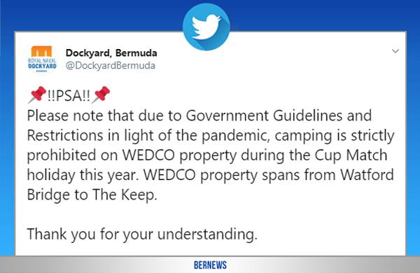 Dockyard Bermuda Tweet July 2020