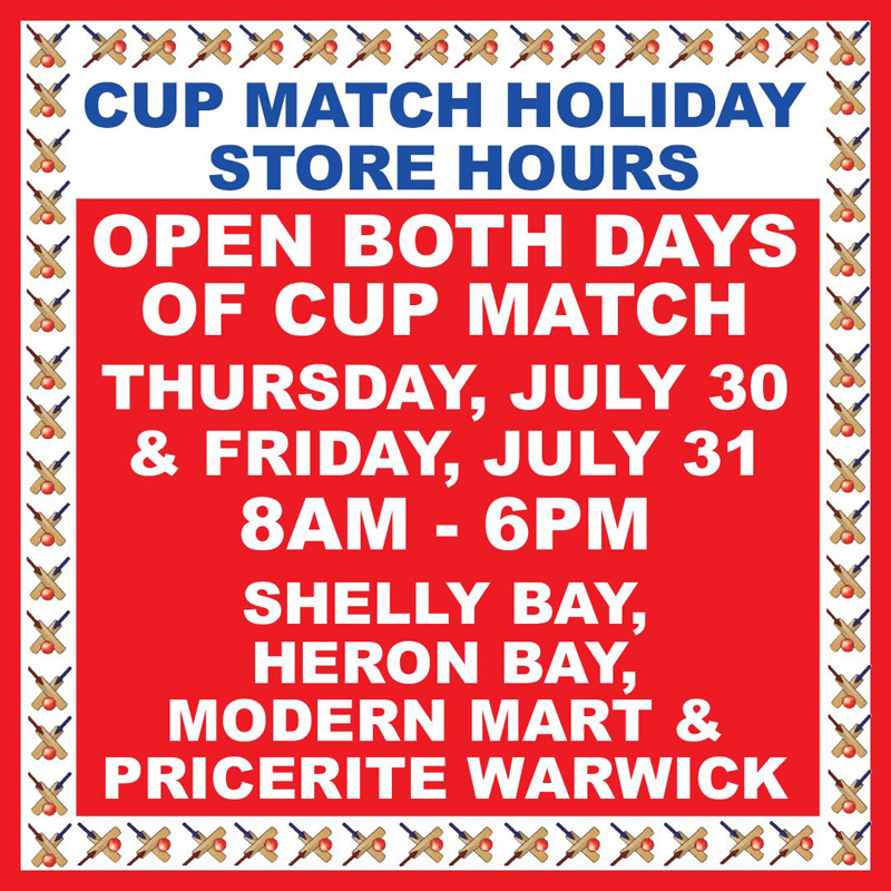 MarketPlace Cup Match Hours Bermuda July 2020