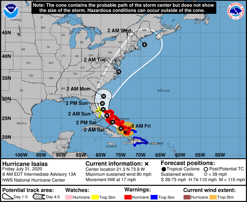 NHC Hurricane Isaias July 31 2020