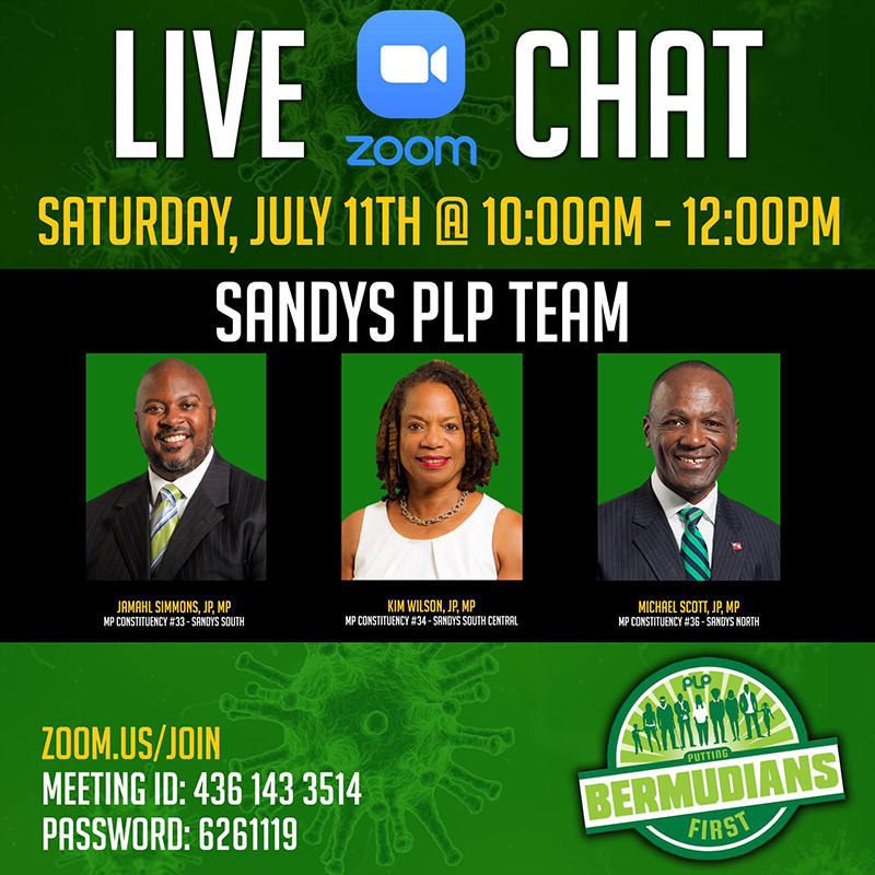 PLP Sandys Team To Host Zoom Live Chat Bermuda July 2020