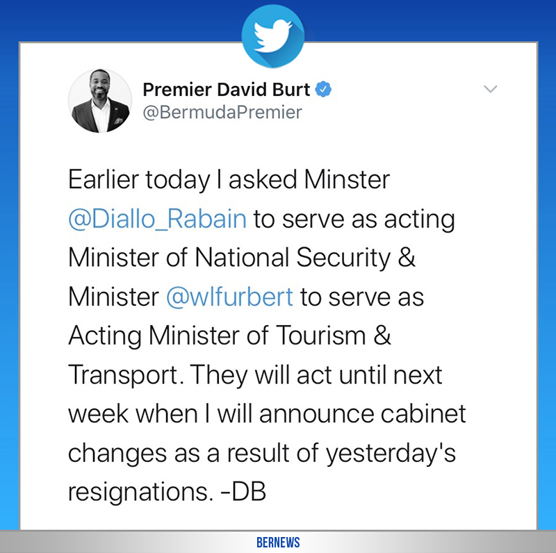 Premier David Burt tweet Bermuda July 7 2020
