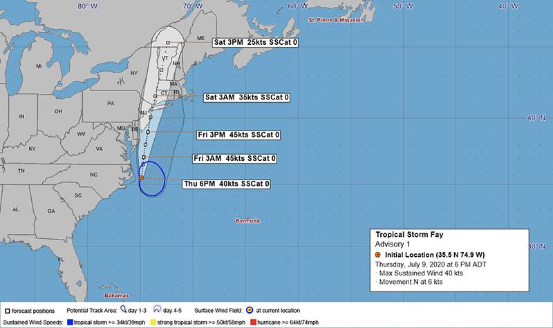 Tropical Storm Fay Bermuda July 9 2020 BWS