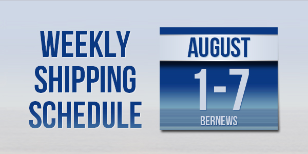 Weekly Shipping Schedule TC Aug 1 - 7 2020