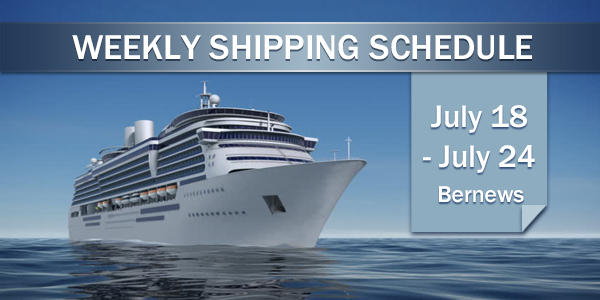 Weekly Shipping Schedule TC July 18 - 24 2020