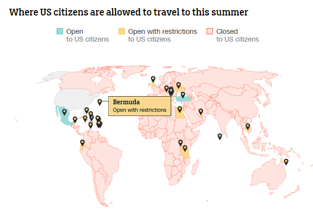 Where US citizens are allowed to travel to this summer