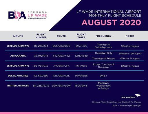 bermuda-updated-flight-schedule-august-2020