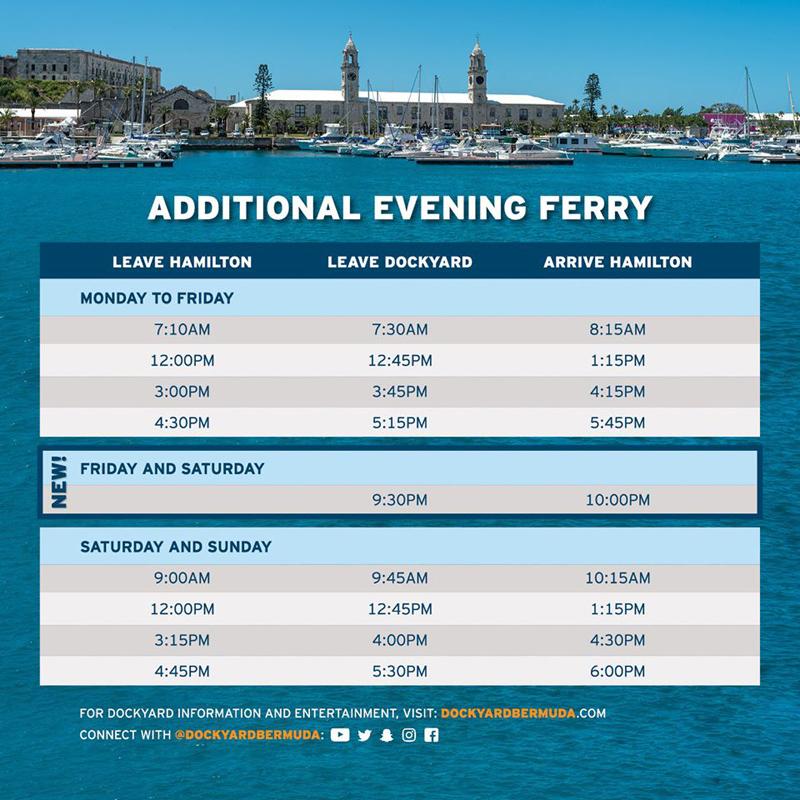 Additional Evening Ferry Bermuda August 2020