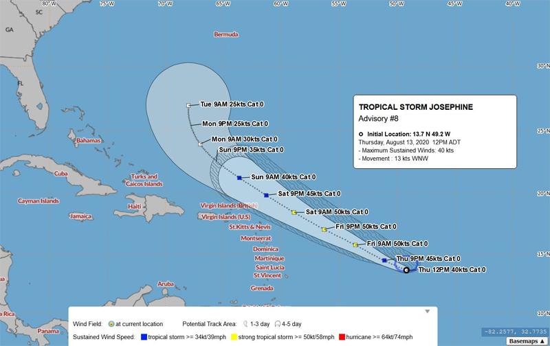 BWS Tropical Storm Josephine August 13 2020