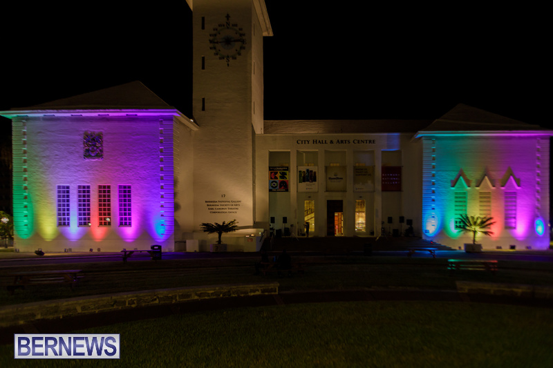 Bermuda City Hall Rainbow Colours August 2020 Pride Event (1)