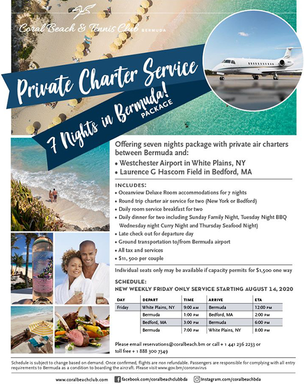 Coral Beach 7-Night Packages Charter Services Bermuda Aug 2020