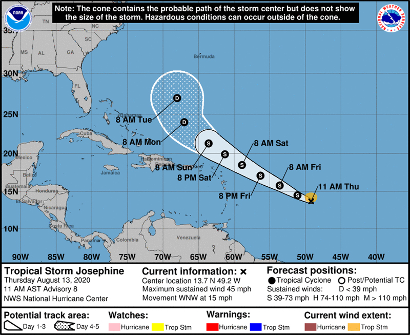 NHC Tropical Storm Josephine August 13 2020