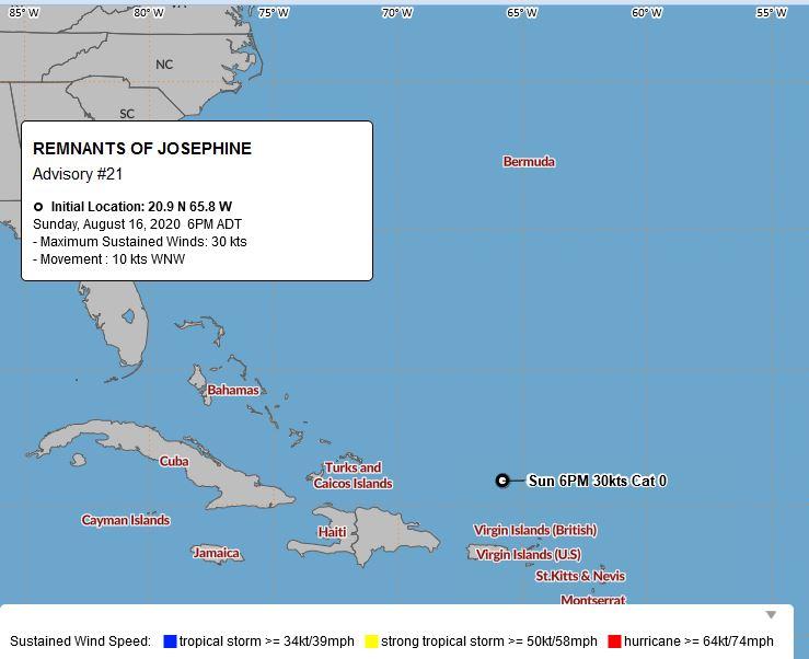Remnants of Josephine  Bermuda August 16 2020 BWS