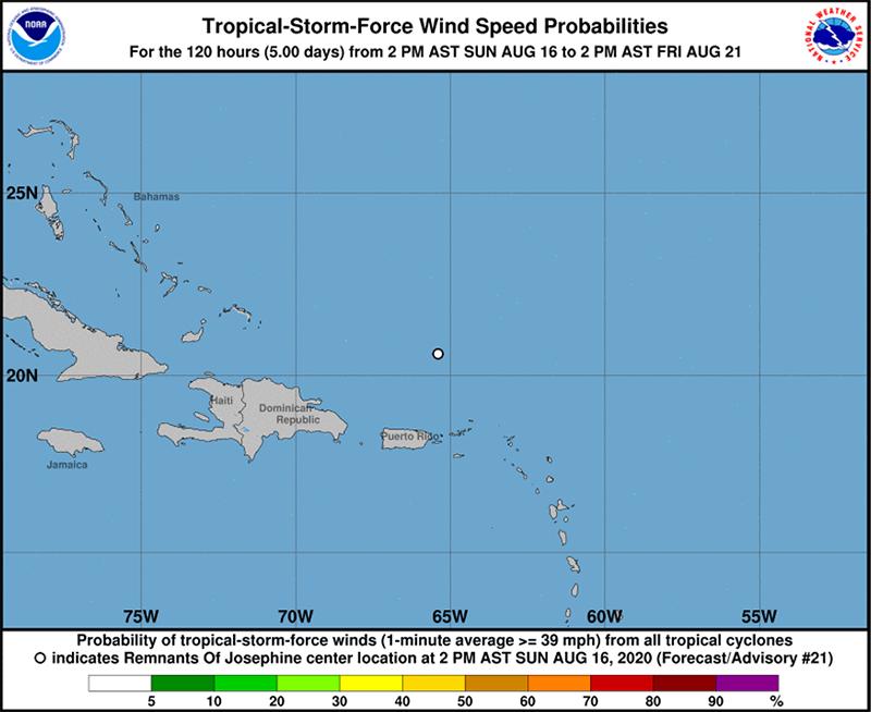 Remnants of Josephine  Bermuda August 16 2020 NHC
