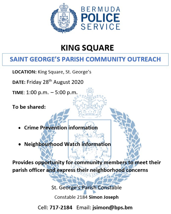 Saint George's Parish Community Outreach Bermuda Aug 2020