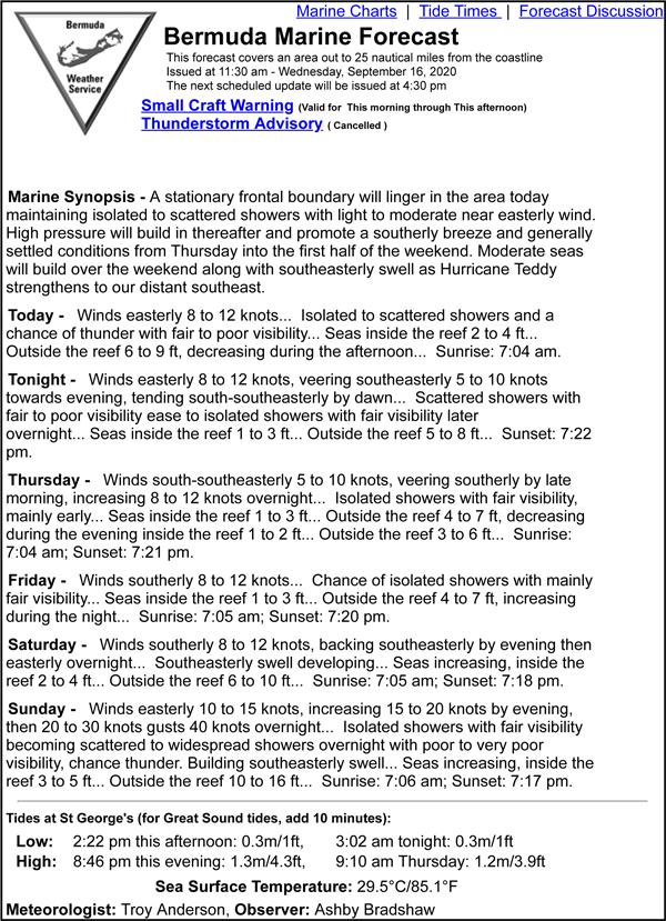 Bermuda Marine Forecast September 16 2020
