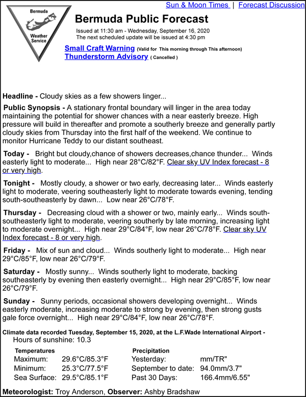 Bermuda Public Forecast September 16 2020