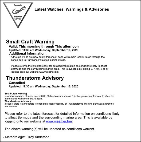 Latest Watches, Warnings & Advisories Bermuda Sept 16 2020
