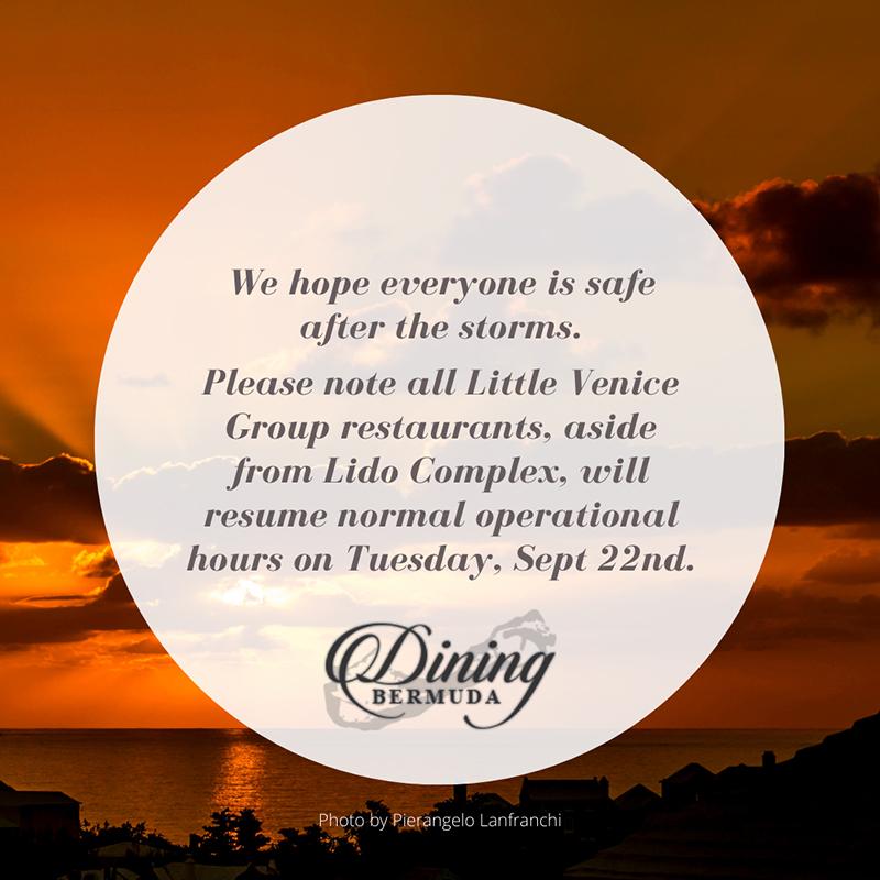 Little Venice Restaurants Bermuda Sept 2020
