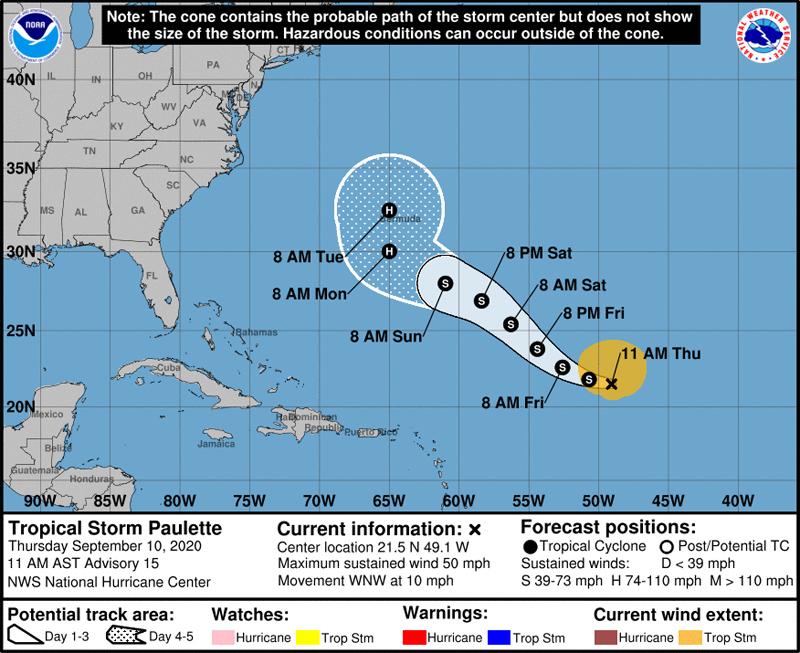 NHC Tropical Storm Paulette Sept 10 2020