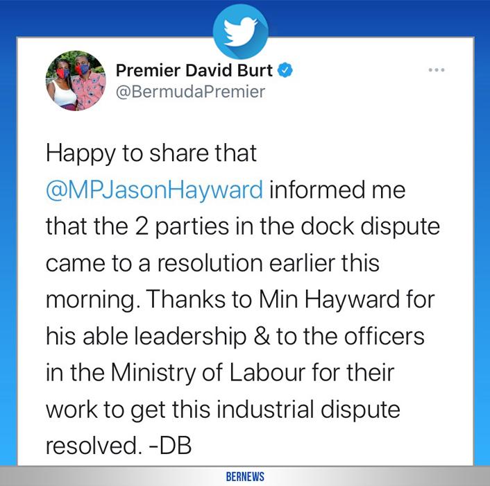 Premier David Burt tweet Bermuda Sept 2020