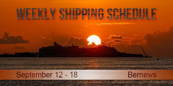 Weekly Shipping Schedule TC Sept 12 - 18 2020