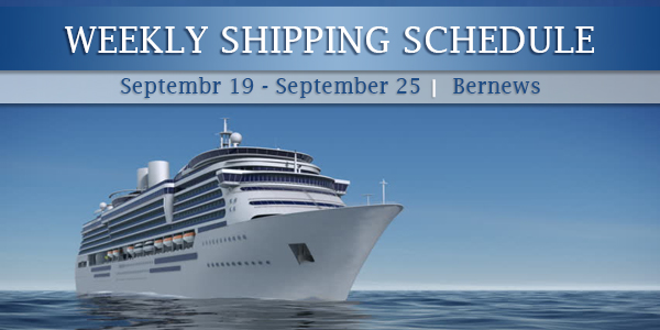 Weekly Shipping Schedule TC Sept 19 - 25 2020