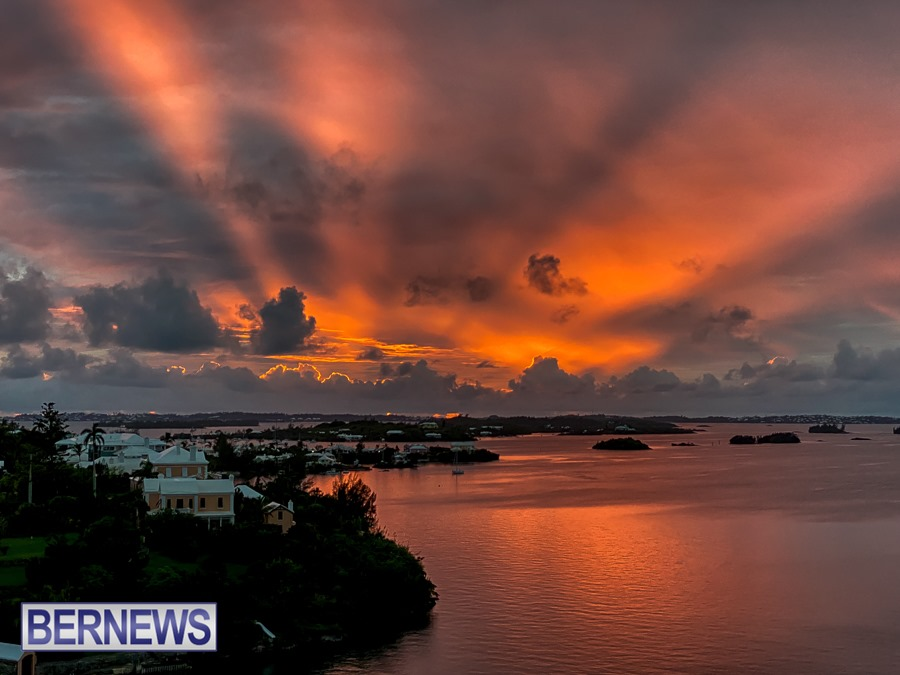 982 - An amazing sunset burst of light from behind the clouds over the Sound