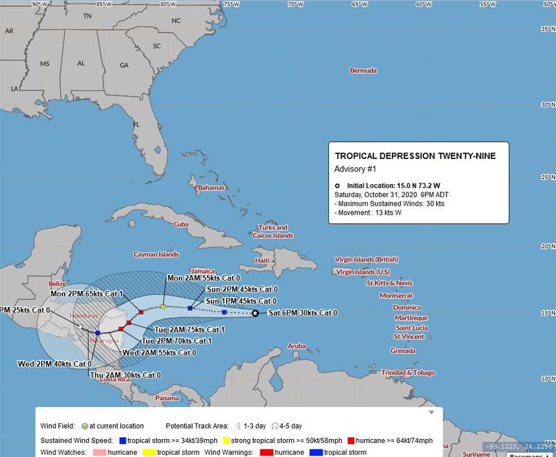 BWS Tropical Depression Twenty Nine Oct 31 2020