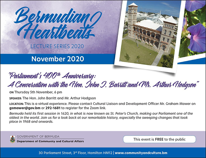 Bermudian Heartbeats Parliament's 400th Anniversary