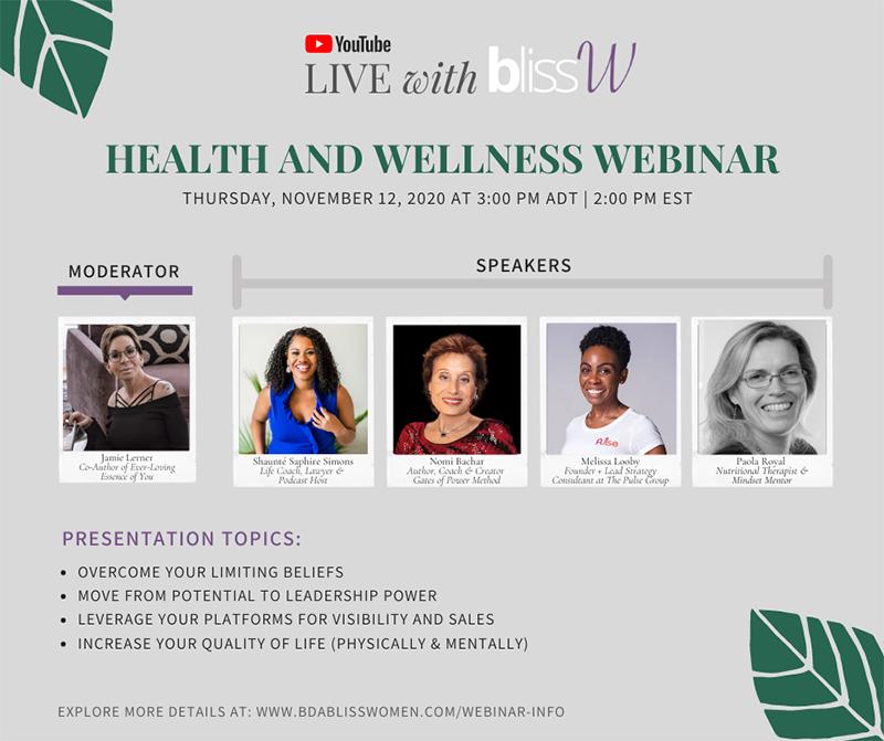 Bliss Women Webinar Thursday, November 12 2020