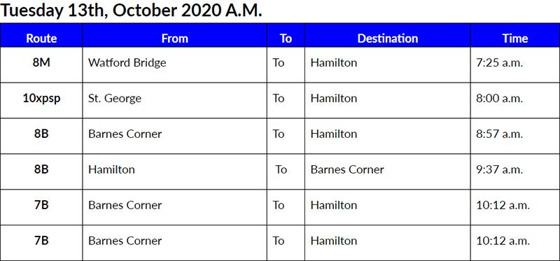 Bus Cancellations AM Bermuda Oct 13 2020