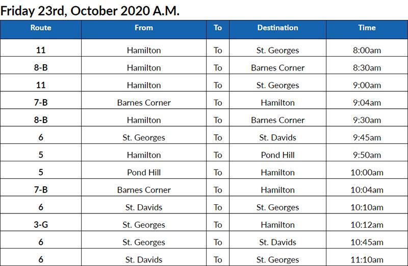 Bus Cancellations AM Bermuda Oct 23 2020