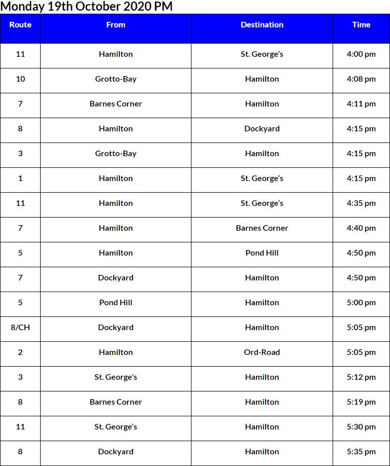 Bus Cancellations PM Bermuda Oct 19 2020