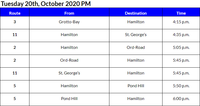 Bus Cancellations PM Bermuda Oct 20 2020