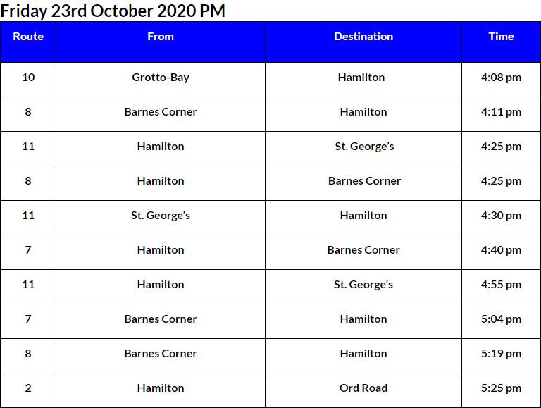 Bus Cancellations PM Bermuda Oct 23 2020