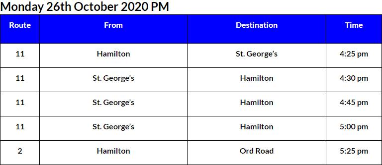 Bus Cancellations PM Bermuda Oct 26 2020