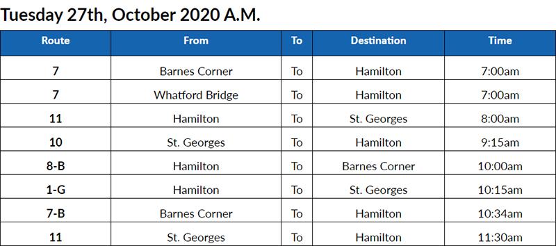 Bus cancellations AM Bermuda Oct 27 2020