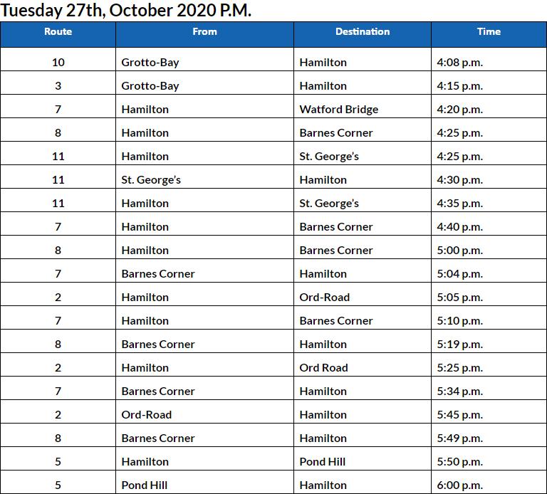 Bus cancellations PM Bermuda Oct 27 2020