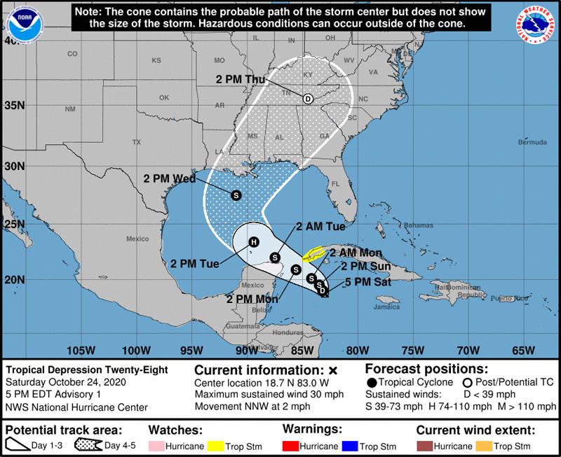 NHC Tropical Depression Twenty Eight Oct 24 2020