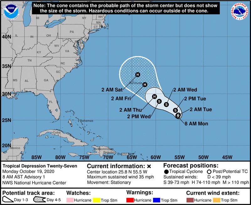 NHC Tropical Depression Twenty-Seven Oct 19 2020