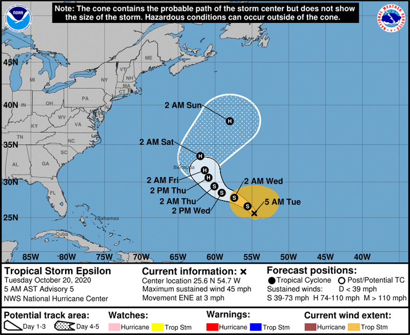 NHC Tropical Storm Epsilon October 20 2020