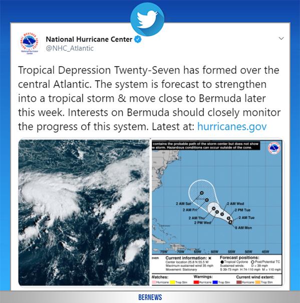 National Hurricane Center tweet Bermuda Oct 19 2020